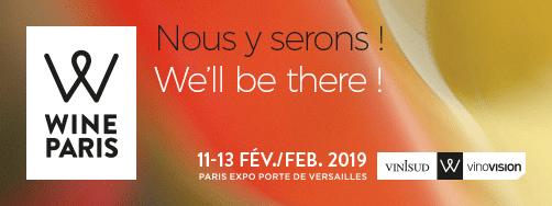 Bannière pour notre présence au salon Vinisud 2019