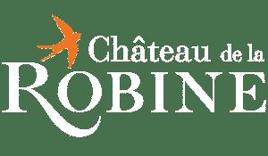 Logo du domaine vinicole le château de la robine en blanc
