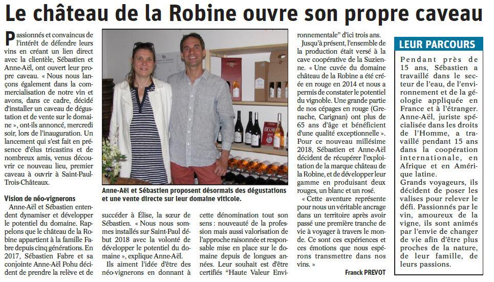 Article sur l'ouverture du caveau du domaine vinicole du Château de la Robine